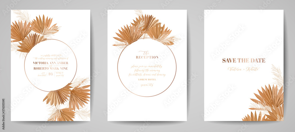Fototapeta Wedding invitation tropical palm leaves card, frame set, dry pampas grass watercolor minimal template vector. Botanical Save the Date golden foliage modern poster, trendy design, luxury background
