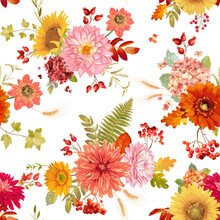 Autumn Watercolor Flowers Seamless Background Illustration, Retro Floral Vector Fall Thanksgiving Pattern For Holidays, Fashion Fabric, Textile, Wallpaper With Berries, Hydrangea, Sunflower, Leaves.