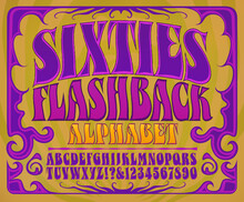 Sixties Flashback Alphabet: A Font In The Style Of 1960s Psychedelic Posters And Album Covers