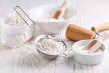 Spelt Flour, Sugar With Baking Ingredients And Kitchen Utensils
