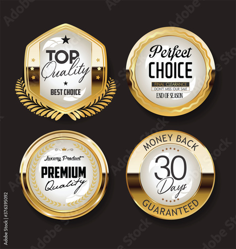 Fototapety, obrazy: Collection of retro gold and black badge and label design