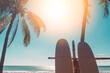 Surfboard and palm tree on sunset sky abstract background. Summer vacation and sport extreme concept.