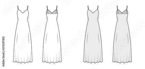 Obraz na plátně Strap sun dress technical fashion illustration with deep V-neck, maxi ancle length, loose shape, semi-sircular fullness
