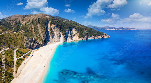 Panorama of the famous Myrtos beach with turquoise sea on the Ionian island of K Canvas Print