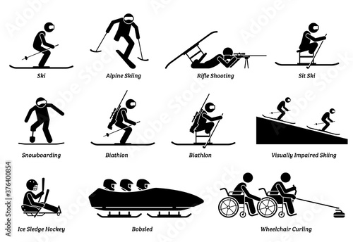 Leinwand Poster Disabled winter sports and games for handicapped athlete stick figures icons