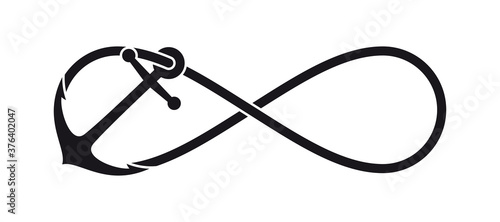 Fototapeta Vector black anchor symbol with endless rope