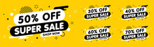 Sale Banner, Special Offer And Sale. Shop Now Or This Weekend Only. Up To 50 Or 60 Or 70 Off. Discount, Promotion, Web Banner, Mega Sale. Vector Illustration.