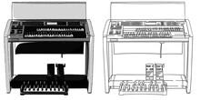 エレクトーン(電子オルガン)2段鍵盤+足鍵盤を正面から見たイラスト 手書き