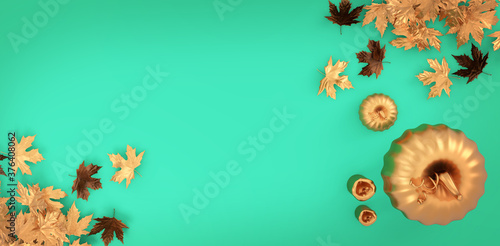 Golden pumpkin halloween flat lay background. Autumn golden leaves on green background.Copy space mockup. 3D rendering