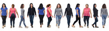 Large Group Of Latin American Women Walking On White Background, Front, Side And Back View