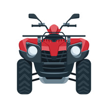 Quad Bike (four Wheel) Vector - Front View Of Four-wheeled Motorcycle In Flat Style - Isolated Icon Transportation