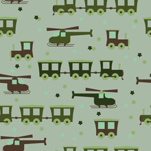 Seamless Cute Baby Pattern With A Steam Locomotive And Helicopter