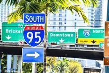Street Sign In Miami City Florida Usa America