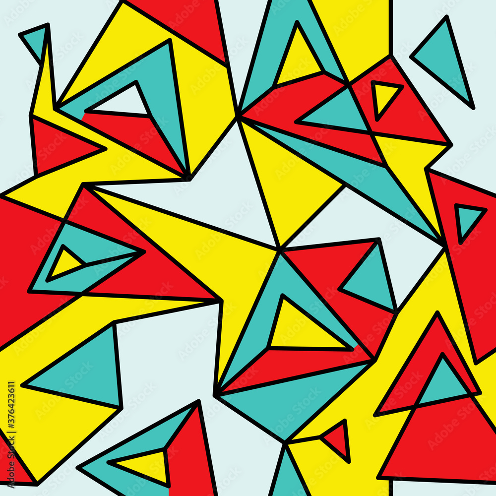 Fragment of geometric cubism, Abstract seamless pattern 2.1.