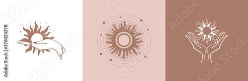 Photo Set of mystical logos with the sun