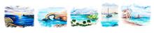 Aquarelle Painting Of Seaside. Cyprus, Illustration Art.