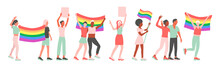 LGBT Pride Parade. Men And Women At A Street Demonstration For LGBT Rights. Group Of Gay, Lesbian, Bisexual, Transgender Activists With Flags And Posters. Flat Iillustration.