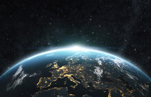 Planet Earth From The Space At Night . 3d Render