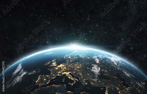 Obraz Planet earth from the space at night . 3d render - fototapety do salonu