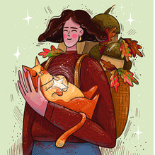 Illustration Of A Girl With A Cat. Autumn Leaves, Acorns, Walking With A Pet. Hugs With A Cat. Autumn Illustration Greeting Card For Mood.
