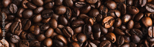 Fotografie, Obraz top view of fresh roasted coffee beans background, panoramic shot