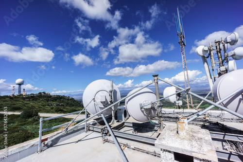 Antenas de radar y telecomunicaciones, Puig de Cura, Algaida,  Mallorca, islas b Canvas