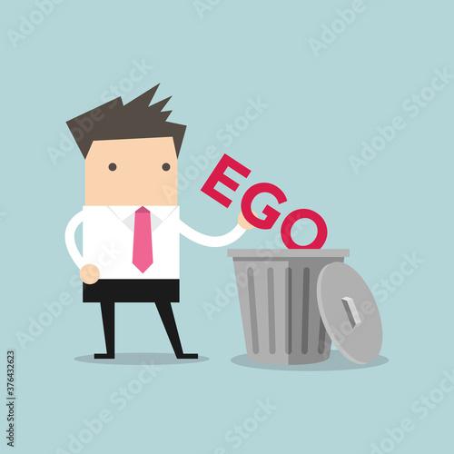 Fotografie, Obraz Businessman throw his ego into the trash.