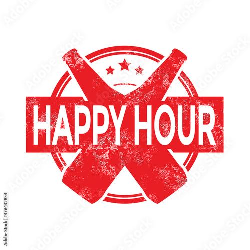 Happy hour beer menu stamp. Fototapeta