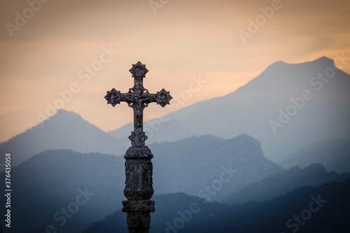 cruz de termino del portal de Mallorca, Alcudia, islas baleares, Spain Slika na platnu
