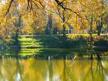 Authentic Autumn Landscape Pond In City Park. Yellow Leaves Fall To Ground And Into The Water. Colorful Autumn Landscapes With Warm Colors And Footpath Covered With Sheets. People Relaxing In Park