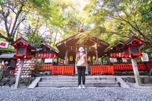 Tourist Show Respect At Nonomiya-Jinja A Small Shrine Located Near The Famous Temple Tenryū-ji, Nonomiya Shrine Is Surrounded On Arashiyama's Beautiful Bamboo Forest.