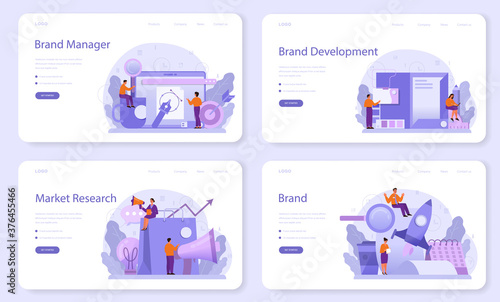 Obraz Brand manager web banner or landing page set. Marketing specialist - fototapety do salonu