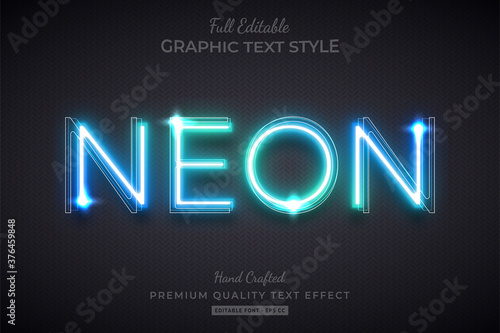 Obraz Glow Neon Editable Text Style Effect Premium - fototapety do salonu