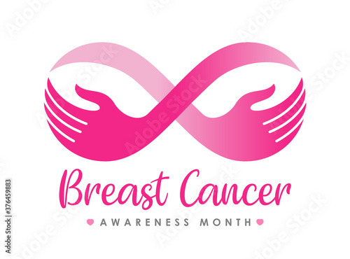 breast cancer awareness month banner with pink infinity hand hold breast sign ve Wallpaper Mural