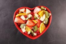 Heart Shape Bowl With Fresh Fr...
