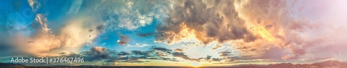 Obraz Panoramic view of sunset sky from a drone - fototapety do salonu