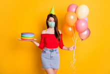Photo Of Shocked Girl In Medical Mask Celebrate Covid Anniversary Occasion Hold Balloon Birthday Cake Wear Short Mini Denim Jeans Skirt Red Top Isolated Bright Shine Color Background