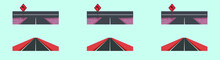 Set Of Asphalt Highway Road Cartoon Icon Design Template With Various Models. Vector Illustration