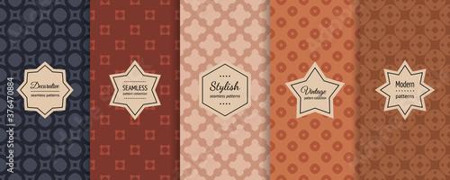 Vector set of vintage seamless pattern Wallpaper Mural