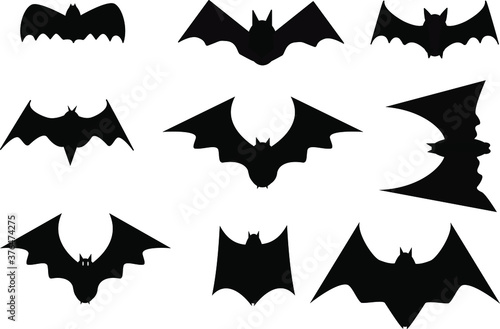 Fotografie, Obraz Collection bat animal pet dracula vampire spook horror fear shadow silhouette black color creative graphic design vector icon for decoration happy halloween holiday cotober month