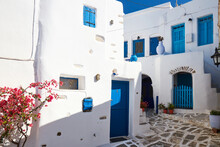 Lemkes Village, Typical Cycladic Architecture And Colors, Paros, Cyclades Islands, Greek Islands