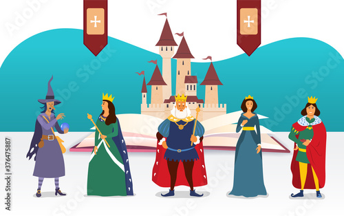 Cuadros en Lienzo Fairy Tale characters in front of a castle and open book with king, queen, court