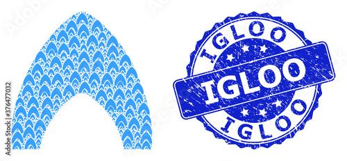 Grunge Igloo Round Seal and Fractal Igloo Home Icon Mosaic Slika na platnu