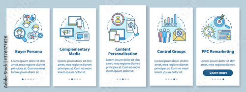 Social media marketing onboarding mobile app page screen with concepts Tableau sur Toile