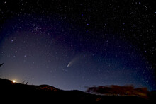 Comet NeoWise 2020 Above Sullivan Butte In Chino Valley, With The Moon On The Lower Left And The Big Dipper In The Center, Arizona