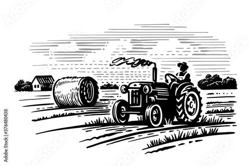 Valokuva farm theme with trees and tractor