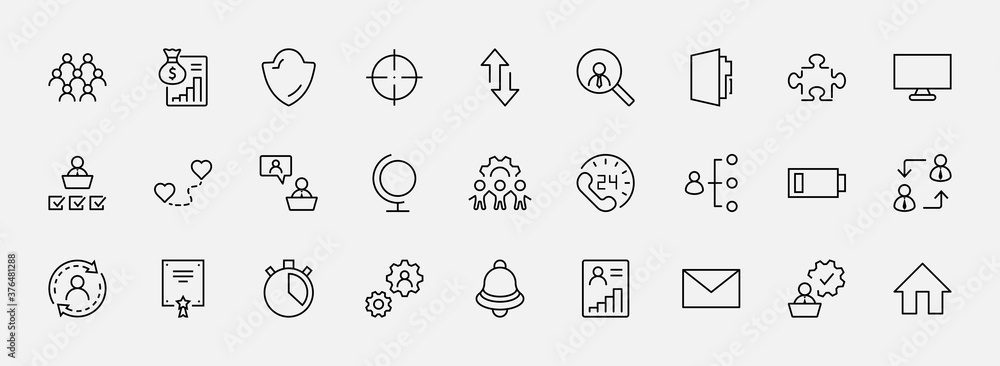 Fototapeta Set of People Management Related Vector Line Icons. Contains such Icons as Target, Puzzle, Certificate, Personal data processing, Task Manager, Qualification, Head Hunting and more. Editable Stroke
