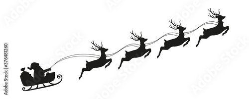 Fotomural santa claus in a christmas sleigh with reindeer silhouette vector illustration E