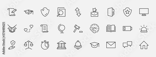 Fototapeta Set of Law and justice Vector Line Icons. Contains such Icons as weapon, arrest, authority, courthouse, gavel, legal, weapon and more. Editable stroke. 32x32 Pixels obraz
