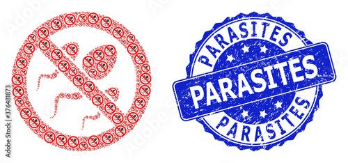 Obraz na plátně Distress Parasites Round Seal Stamp and Recursive Forbidden Sperm Icon Collage